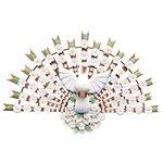 Divino Espírito Santo Meia Lua com Esculturas de Flores Brancas 1,50 m.