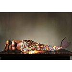 Luminária Média Escultura de Sereia com Cauda de Tampinhas
