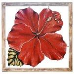 Quadro Vazado Grande de Hibisco Vermelho