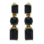 Brinco Banho de Ouro Trio de Pedras Cristal Negro