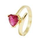 Anel Coração Semijoia Banho de Ouro 18K Cravação de Zircônia Fusion Vermelha