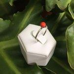 Anel Pedra Coral Pequena Prata 925