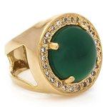 Anel Redondo Semijoia Banho de Ouro 18K Pedra Natural Jade e Cravação de Zircônias