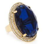 Anel Oval Semijoia Banho de Ouro 18K Cristal Azul e Cravação de Zircônias