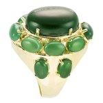 Anel Oval Semijoia Banho de Ouro 18k Pedra Natural Jade