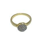 Anel Chuveirinho Pequeno Semijoia Banho de Ouro 18K Cravação de Zircônia Detalhe em Ródio
