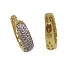 Brinco Argola Oval Larga Semijoia Banho de Ouro 18k com Cravação de Zircônias e Detalhe em Ródio