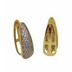 Brinco Argola Gota Semijoia Banho de Ouro 18k com Cravação de Zircônia e Detalhe em Ródio