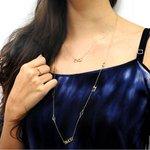 Gargantilha em Ouro 18k Amor Luz Paz com Zircônias 80cm