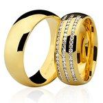 Par de Alianças de Bodas de Ouro com Diamantes