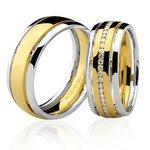 Aliança Top em Ouro Branco e Amarelo 18K com Diamantes 7mm