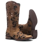 Bota Texana Feminina - Fóssil Caramelo / Craquelê Preto - Roper - Bico Quadrado - Cano Longo - Solado Nevada - Vimar Boots - 13104-B-VR