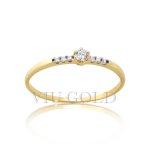Anel solitário em ouro 18k amarelo com Diamantes