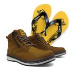 Bota Zip One Osso + Chinelo Amarelo