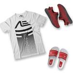 Kit Camiseta Gradient Tênis e Chinelo Adaption Branco/vermelho