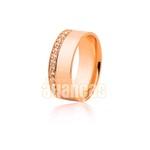 Aliança de Ouro Rosê 18k com diamantes