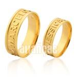 Alianças De Noivado e Casamento Em Ouro Amarelo 18k 0,750 Fa-1014