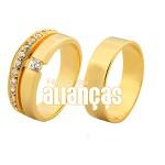 Alianças De Noivado e Casamento Em Ouro Amarelo 18k 0,750 Fa-1030