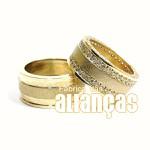 Alianças De Noivado e Casamento Em Ouro Amarelo 18k 0,750 Fa-1009