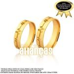Alianças de Noivado e Casamento em Ouro Amarelo 18k 0,750 FA-1038