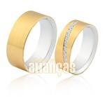 Alianças de Compromisso em Prata 0,950k com Ouro Amarelo 18k 0,750