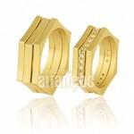 Aliança personalizada em ouro 18k e pedras
