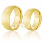 Aliança de noivado e casamento anatomicas de ouro 18k