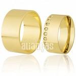 Alianças de Noivado e Casamento em Ouro Amarelo 18k 0,750 FA-310