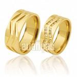Alianças de Noivado e Casamento em Ouro Amarelo 18k 0,750 FA-392