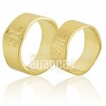 Alianças de Noivado e Casamento em Ouro Amarelo 18k 0,750 FA-565