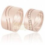 Aliança de Noivado e Casamento em Ouro Rose 18k 0,750 FA-609-R
