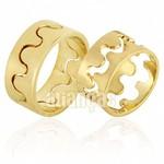 Alianças de Noivado e Casamento em Ouro Amarelo 18k 0,750 FA-654