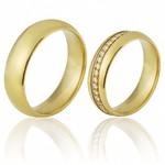 Alianças de Noivado e Casamento em Ouro Amarelo 18k 0,750 FA-690