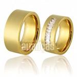 Alianças de Noivado e Casamento em Ouro Amarelo 18k 0,750 FA-703