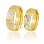 Alianças de Noivado e Casamento em Ouro Amarelo 18k 0,750 FA-389
