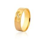 Aliança 03 Diamantes 0,075pontos Ouro Amarelo 18k (6,00mm)