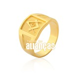 Anel Masculino de Maçonaria em Ouro Amarelo 18k 0,750 A-11