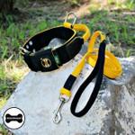 Coleira Para Cachorro Poderosso + Guia Longa 1,80 (preto e amarelo)