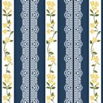 Tecido Listrado Rendas Azul marinho Fabricart