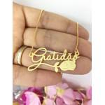 Colar Personalizado Banhado a Ouro Com Detalhe de Rosa