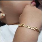 Pulseira Personalizada Infantil Banhada a Ouro Com Detalhe Coração