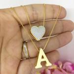 Gargantilha Dupla Inicial e Coração Banhada a Ouro