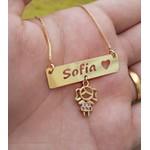 Colar Plaquinha Personalizado Com Pingente de Filho (a) Banhado a Ouro