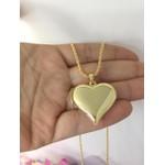 Colar Banhado a Ouro Cordão Baiano e Pingente Coração