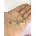 Colar Personalizado Cravejado em Zircônias Banhado a Ouro