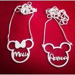 Colar Minnie ou Mickey em Prata 925