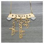 Colar Família Com Até 5 Nomes Banhado a Ouro