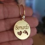 Colar Personalizado Nome E Pezinho Vazados Banhado a ouro