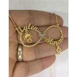 Gargantilha Mandala Em Banho de Ouro Infinito e pingentes