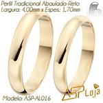 AL016-Par de Aliança de Ouro 18K de Casamento Tradicional